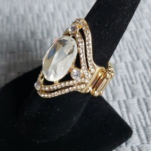 New Ring Gold Elastic Diamond look